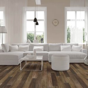White sofa on Vinyl flooring | Gillenwater Flooring