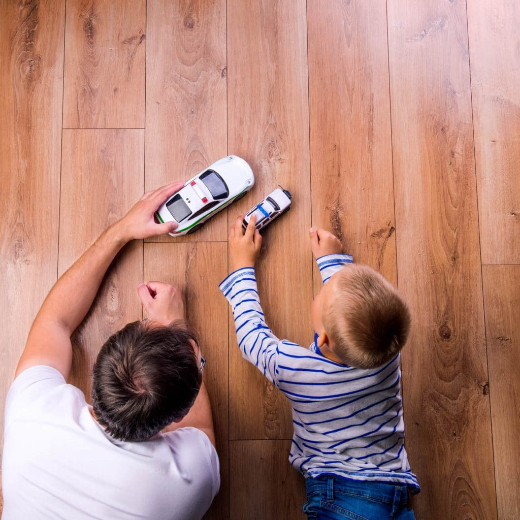 Kid and dog playing with toycar | Gillenwater Flooring